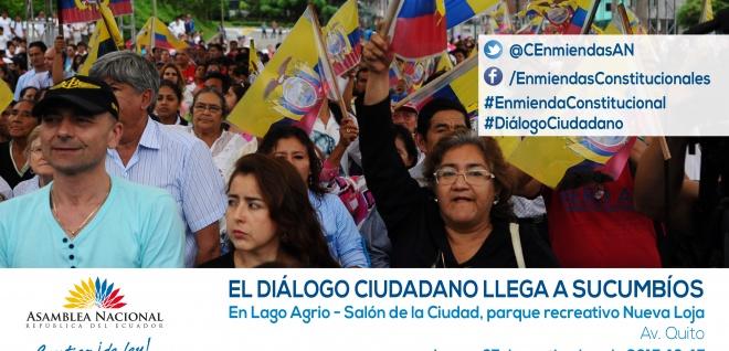 Diálogo ciudadano sobre enmienda se realizará el lunes en Sucumbíos