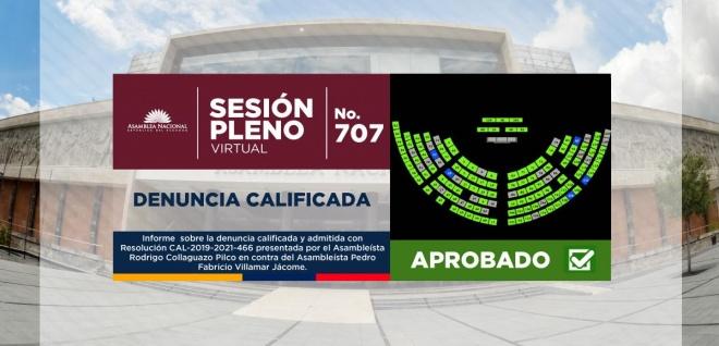 Asamblea Nacional censuró y destituyó al asambleísta Fabricio Villamar Jácome