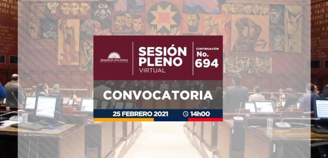 Sesión del Pleno, continuación 694, proyecto de Ley Orgánica par el Desarrollo Sustentable del sector Agropecuario; y, proyecto de Ley Orgánica para el Ejercicio y la Defensa Profesional de la Contabilidad,