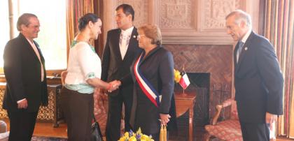 Gabriela Rivadeneira en la ceremonia de la Posesión Presidencial de Michelle Bachelet. Asistió al saludo protocolar al Mandatario saliente