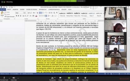Refroma penal en materia de Tránsito, Comisión Justicia