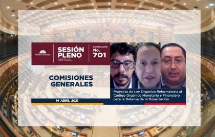 Expertos económicos emiten criterios sobre proyecto urgente en el Pleno de la Asamblea