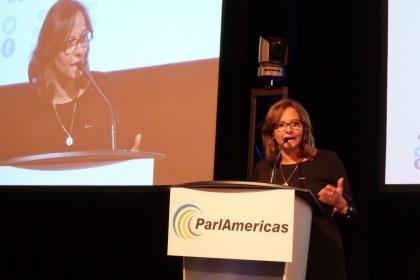 Elizabeth Cabezas, presidenta del Parlamento de Ecuador y vicepresidenta de ParlAmericas, durante su intervención