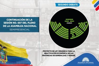 El Pleno aprobó Ley para la reactivación económica de Esmeraldas y Manabí