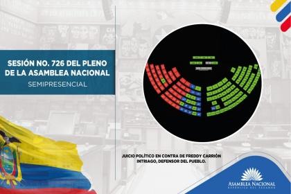 Asamblea censuró y destituyó al defensor del Pueblo, Freddy Carrión