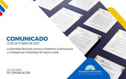 La Asamblea Nacional convoca a fortalecer la democracia y a trabajar por el bienestar de todos y todas