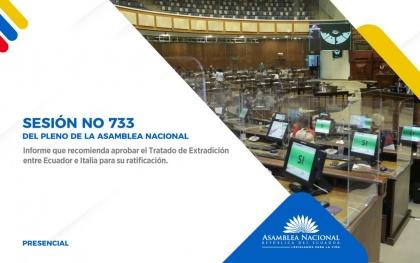 Pleno de la Asamblea ratifica Tratado de Extradición entre Ecuador e Italia